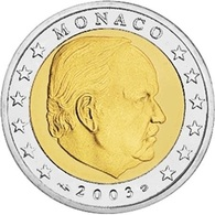 Monaco, 2003, 2 Euro, Rainier Prince Montecarlo, BiMetallic, UNC, Rare Low Mintage - Monaco