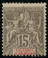 Anjouan (1900) N 15 * (charniere) - Anjouan (1892-1912)