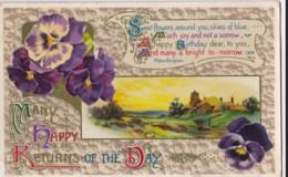 AP41 Greetings - Many Happy Returns - Village Scene, Pansies - Birthday