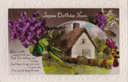 AP41 Greetings - Joyous Birthday - Cottage, Flowers - Birthday