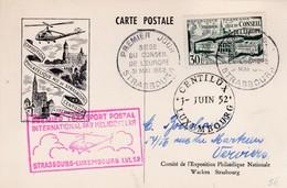 Carte Conseil De L'Europe Par Hélicoptère Strasbourg Verviers1952 - Poste Aérienne
