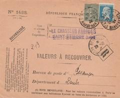 Valeur à Recouvrer : Daguin : St-Etienne Manufrance Pour Besançon Recouvrement - Marcofilia (sobres)