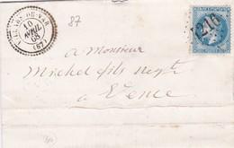 France - Y&T 29 Sur Pli Oblitération GC 4216 Villars-du-Var - Alpes-Maritimes Vers Vence - 1849-1876: Classic Period