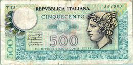 Billet De Banque Italien Italie 500 Lire Cinquecento T18 341903 20/12/1976 En B.Etat - [ 2] 1946-… : Républic