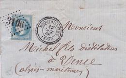 France - Y&T 29 Sur Pli Oblitération GC 3196 Roquebillière - Alpes-Maritimes - 1849-1876: Classic Period