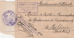 France Alsace Carton Colis En Franchise Gendarmerie Strasbourg 1922 - Postmark Collection (Covers)