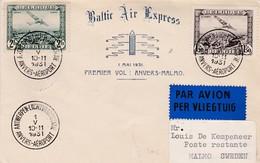 Lettre 1er Vol Anvers- Malmo Sweden 1931 - Poste Aérienne