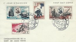 Monaco - Fdc. Cinquantenaire De La Mort De Jules Verne. H-1577 - FDC