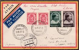 Lettre Par Avion Bruxelles Prague Liberec 1937 - Poste Aérienne