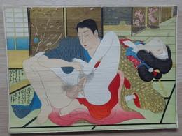 Estampe - Dessin Erotique - Shunga - Papier Fin - Colorisé - Format: 25.5/18.5cm - Prints & Engravings