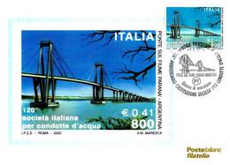 ITALIA - 2000 ROMA  120° Società Per Condotte D'acqua (ponte Sul Fiume Paranà, Argentina) Ann. Fdc Su Cartolina PT - Ponti
