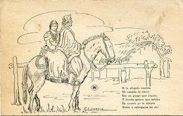 """""""PAREJA GAUCHOS A CABALLO"""" ESCENA CAMPERA N° 24 - M. A. CIORDIA. CON POESIA GAUCHA - CPA POSTAL CARD CIRCA 1900's -LILHU - Paintings"""