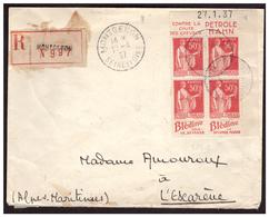 Bloc De 4 Coin Daté  Du N°283 Avec Pub Sur Lettre Rec. De MONTGERON Pour L'ESCARENE Du 17.4.37. - Frankreich