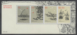 TONGA, 2003, SHIPS, CANOES, ABEL TASMAN DISCOVERY OF TONGA,  S/SHEET - Ships