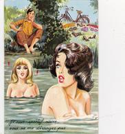 CPSM Pin-up Sexy Baigneuse Nude Nu Pêcheur Pëche à La Ligne Illustrateur L. CARRIERE N° 50371 (2 Scans) - Carrière, Louis