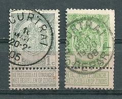 53 + 83 Gestempeld COURTRAI + COURTRAI DEPART - COBA 9 Euro - 1893-1907 Coat Of Arms
