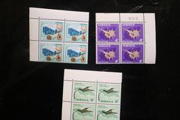 Jamaica 220 222 224 Shells Sea Shells Humingbird Corner Blocks 4 MNH 1964 A04s - Jamaique (1962-...)