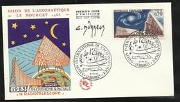FDC Lettre Illustrée  Premier Jour Le Bourget 08/06/1963 N°1362 Radiotélescope Signé Par C. Durrens Graveur Soldé ! ! ! - Astronomy