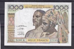 AOF Ivory Coast  1000 Fr  Center Fold Pli Central - États D'Afrique De L'Ouest