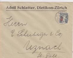 BRIEF  ADOLF SCHLATTER, DIETIKON ~ ZURICH  ~  YEAR 1921 - Schweiz