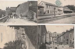 4 CPA:LIVERDUN (54) LA GARE,ROUTE DE LA FLIE ANIMÉE,ANCIENNE PORTE FORTIFIÉE,ÉPICERIE DÉBIT DE TABAC LA GRAND'RUE - France
