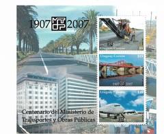 URUGUAY YEAR 2007, TRANSPORT AND INFRAESTRUCTURE MINISTRY 1907 2007 SOUVENIR SHEET MNH - Uruguay