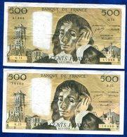 LOT 2 BILLETS 500FR Pascal 1971 Et 1969 - 1962-1997 ''Francs''