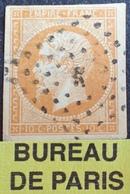 """DF50478/376 - NAPOLEON III N°13Ab Bistre-orange (très Belle Nuance Vive) - BUREAU """" K """" De PARIS - Cote : 50,00 € - 1853-1860 Napoléon III"""