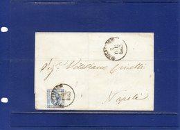 ##(DAN194)-Italy 1863-Piego Senza Testo Affrancato Effigie Cent.15 1°tipo Da  Nicastro, Annullo Borbonico  Per Napoli - 1861-78 Vittorio Emanuele II