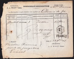 Bordereau D'expédition Par Chemin De Fer Hexagon 1881 LIEGE SIRENE  > ENSIVAL Heure Bloqée  FRANCO En Ligne Et à La Main - Railway