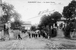 CPA De HARAMONT (Aisne) - Les Quatre Chemins. Edition Colinet. Circulée En 1914. Bon état. - France