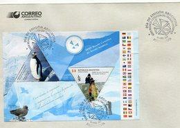 XXXIV REUNION CONSULTIVA DEL TRATADO ANTARTICO. SOBRE ENVELOPE ARGENTINA OBLITERES AÑO 2011 FDC BLOCK FEUILLET - LILHU - Events & Commemorations