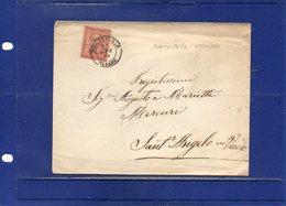 ##(DAN194)-Italy 1873-Busta Affrancata Cent.2 Da Mercatello-Pesaro Per Sant'Angelo In Vado, Annullo Di Arrivo Al Retro - 1861-78 Vittorio Emanuele II