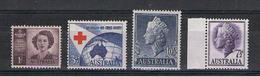 AUSTRALIA:  1947/57  DIVERSI  -  4  VAL. N. -  YV/TELL. 155 A//236 - 1937-52 George VI
