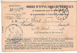 34 BEZIERS HERAULT 1906   ORDRE APPEL SOUS LES DRAPEAUX.     HE - Documents Historiques