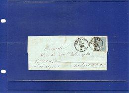 ##(DAN194)-Italy 1864-Piego Completo Di Testo Affrancato Cent.15 Effigie Da Pesaro Per Ancona - 1861-78 Vittorio Emanuele II