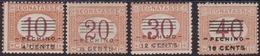 453 ** Pechino 1918 – Soprastampati Segnatasse N. 9/12. Cert. Biondi. MNH - 11. Uffici Postali All'estero