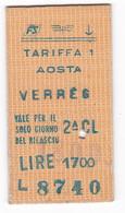 BIGLIETTO TRENO In CARTONCINO - AOSTA / VERRES - 1985 - Treni