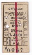 BIGLIETTO TRENO In CARTONCINO - CHIVASSO / MILANO C.LE A/R - 1929 - Treni