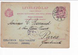 Ungheria Hungary Postal Stationery 1905 Levelezo Lap. Pozsony UPU - Interi Postali