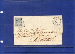 ##(DAN194)-Italy 1867-Piego Completo Di Testo Affrancato Cent.15 Su Cent.20  3° Tipo Da  Sestri Ponente Per Chiavari - 1861-78 Vittorio Emanuele II