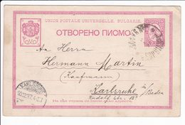 Bulgaria 1897 Postal Stationery Sofia To Karlsruhe - Cartes Postales