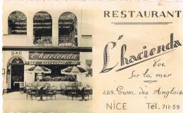 NICE  - Restaurant L'Hacienda 289 Promenade Des Anglais- Devanture -scans Recto Verso-Paypal Sans Frais - Cafés, Hotels, Restaurants