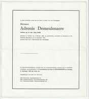 Doodsbrief Adronie DEMEULENAERE Wed. Jules Lenez Torhout 1892 Roeselare 1979 Families Maenhout Demeester - Décès
