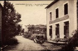 Cp Congolfens Haute Loire, La Route De Beauzac, Cafe Surrel - Frankreich