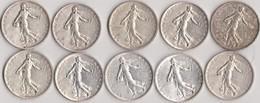 Lot De 10 Pièces De 5 Francs - Argent - France