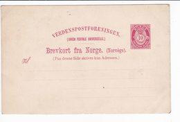 Norvegia Norway Norge Unused Postal Stationery Brevkort 10 Ore 2 Scan - Entiers Postaux