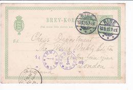 Danmark Denmark 1905 Ribe Uprated Postal Stationery Brevkort 5+5 Ore Chess - Interi Postali
