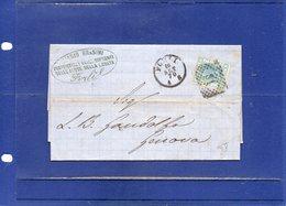 ##(DAN194)-Italy 1870-Piego Con Testo Timbro Biagio Brasini Proprietario Sorgenti Acque Della Loreta - 1861-78 Vittorio Emanuele II
