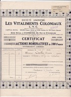 Pas 1)Les Vitaliments Coloniaux 1934N=7 - Shareholdings